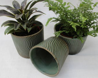 Green Carved Ceramic Planter - Wheel Thrown - Handmade Ceramic Planters - Ready to Ship
