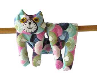 Flat Cat, Hot Cold Rice Bag, Microwave Neck Wrap, Rice Heating Pad, Hot Cold Therapy Pack, Blue Pink Green, Cat Lover Gift #2