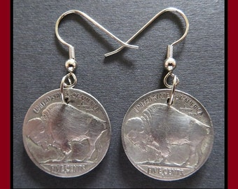 Buffalo/Indian Head Nickels: 1920s - 1930s Vintage Art Deco Hardware.. 5-cent Coin Earrings with Hypoallergenic Hooks) Classic Antique Chic!