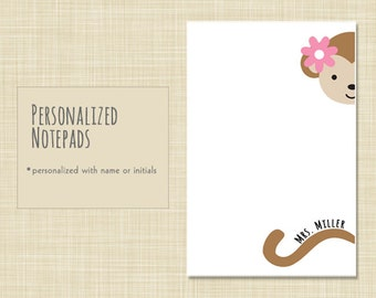 Personalized Notepad - Note Pad - Cute Monkey - choose color - stationery - stationary - teacher gift