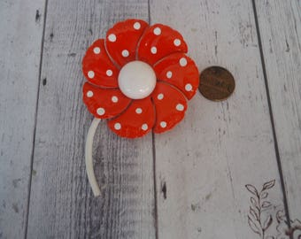 Vintage Enameled Flower Brooch, Orange and White