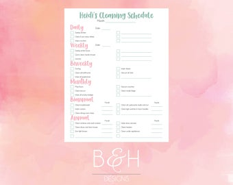 Custom Cleaning Checklist, Customized Cleaning Schedule, Digital Download Cleaning List, Cleaning Calendar