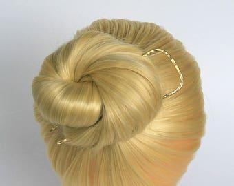 Brass Hair Fork Hair Pin Square Hair Stick Hand Forged Hair Slide Metal Hair Clip Hair Jewelry Hair Clip For Long Hair Women Gift for Her