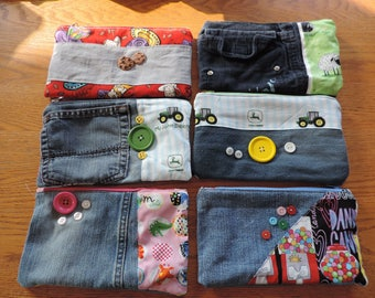ecofriendly pencil case made with uycycled kid's jeans