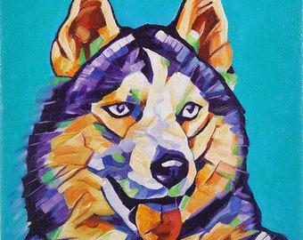 Pop Art HUSKY 1 – Original Framed Oil on Canvas – 8in x 8in x 1 3/8in – Animal Painting Wildlife Wall Decor – Husky Siberian Husky Dog