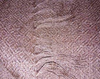 100% Alpaca Hand woven Shawl in brown diamond design weave.