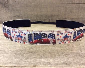 USA Nonslip Headband, Noslip Headband, Workout Headband, Sports Headband, Running Headband, Athletic Headband