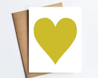 Chartreuse Heart - NOTECARD - FREE SHIPPING!
