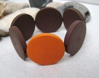 Bracelet . Wooden bracelet . Bracelet brown and orange . Wooden jewelry . Eco jewelry