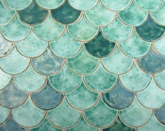 Fish scales tiles, unique tiles, original, unusual tiles - SAMPLES