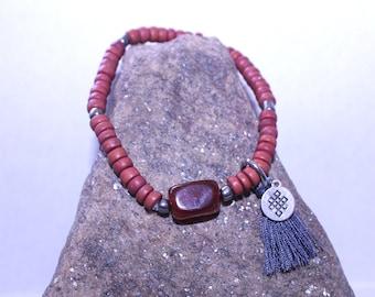 Red Carnelian charm bracelet with tassel