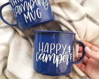 Happy Camper Mug - This Is My Camping Mug - Enamel Camper Mug - Campfire Mug - 24 Ounce - Coffee Mug - Ships Free