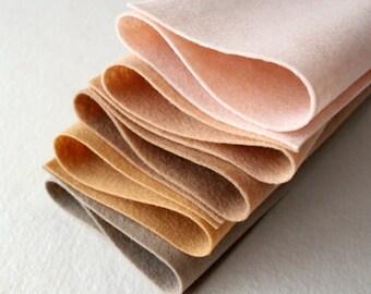 Skin Tones Merino Wool Blend Felt - 5 6x9 Sheets