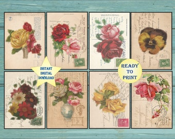 "8 Floral Victorian Scrap Post Cards Printable ATC ACEO Digital 2.5X3.5"" Vintage Early 1900s Late 1800s Mail Stamps Roses Pansy Aged Paper"