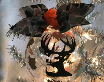 """Custom Hand decorated Deer head, hunting, camouflage Ornament  4"""" Glass"""