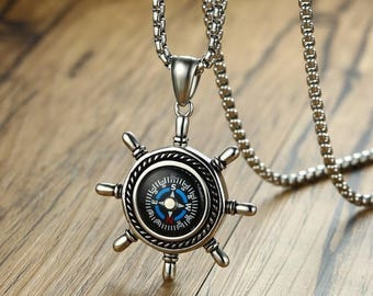 Beautiful necklace made of steel stainless compass