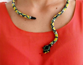 SNAKE Necklace. Bead necklace handmade. Snake bead.