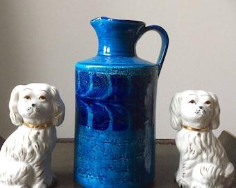 Bitossi/large/modernist/jug/vase/fat lava/Italy/stunning blue glaze /1960s/flavia/montelupo