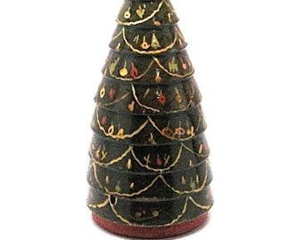 Antique Hungarian Christmas Tree, Primitive,Folk Art, Carved Wood,Artist Signed, Made in Hungary, c1910