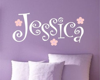 Curly Girly Name Wall Decal - Teen Girl or Baby Girl Wall Decal Decor - Dorm Room Name Decal - girl name decal with flowers