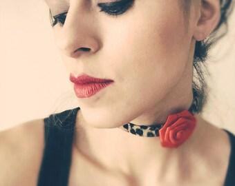 Red silk rose, leopard choker