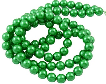 "Green ""Pearl"" Glass Beads - 8mm"