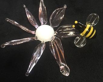 Glass flower w/ Bumblebee