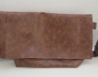 Men's Faux Leather/Vinyl Messenger Bag