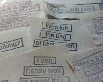 10 x Pieces Assorted Stamped Muslin Scraps: Sassy & Funny