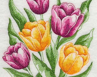 Sketched Tulips Embroidered Flour Sack Towel, Sketched Tulips Towel, Tulips Towel, Spring Towel
