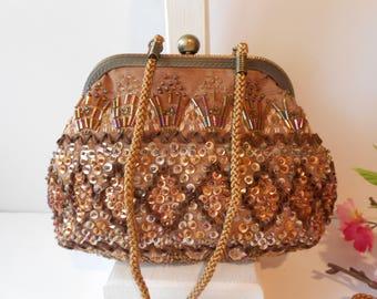 Mocha Evening Bag, Beaded Evening Bag, Vintage Evening Bag, Mocha Beaded Bag, Vintage Bead Bag, Beaded Clutch Bag EB-0365