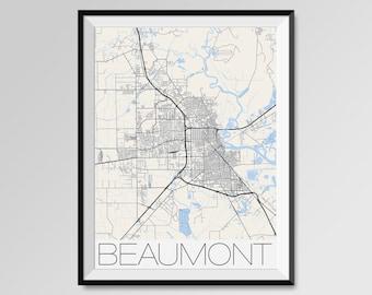 BEAUMONT Texas Map, Beaumont City Map Print, Beaumont Map Poster, Beaumont Wall Map Art, Beaumont gift, Custom city maps, Lamar University