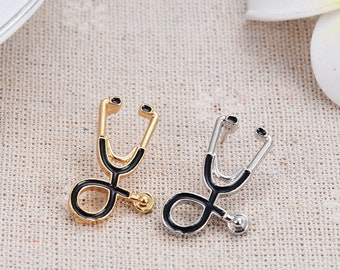 Tiny Metal Stethoscope Gold Silver For Medical Student Doctor Nurse Coat Lapel Pin Badge Corsage Shirt Collar Metal Brooch Enamel Jewelry