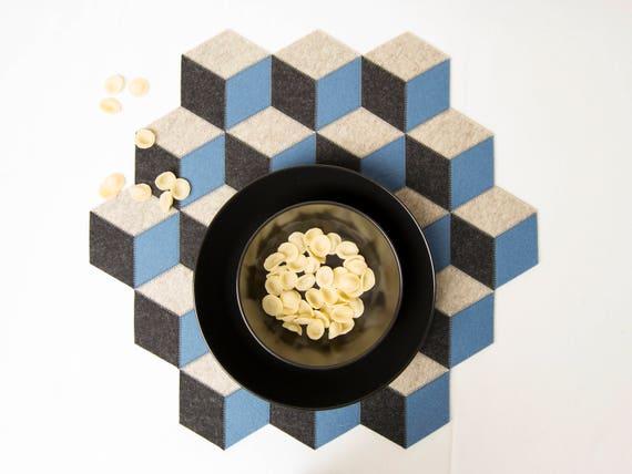 Wool felt placemats / large table mat / wool felt / light blue and grey placemat / geometric mat / christmas placemat / felt runner