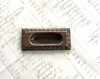 Art and Craft Bin Pull Brass Drawer Pull Cabinet Label Library Card Catalog