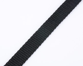 Black 15mm strap by the yard