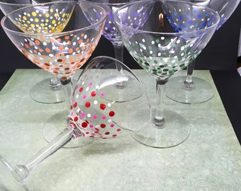 Martini Stemware Glasses Hand Painted  Set of 6  Purple, Red, Yellow, Green, Orange, and Blue Drinkware Barware Kitchen Decor Bar Decor Gift