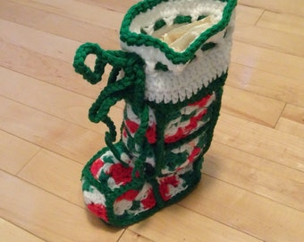 Vintage Granny Square Hand Knit Christmas Stocking Boot 3 Dimensional | Vintage Christmas Stocking | Hand Made Stocking | Baby Stocking