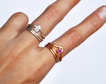 Chevron Gemstone Ring Set, Stacking Ring Set, Birthstone Ring, Sterling Silver, 14KT Gold Filled