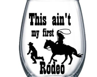 Personalized Stemless Rodeo Wine Cup (plastic stemless wine cup)