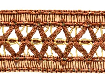 Vintage 1.5 Inch (3.8cm) Wide Brown, Light Gold Gimp Braid Trim - English Toffee 08 (sold by The Yard)