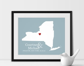 Wedding Gift Bridal Shower Gift for Bride and Groom Anniversary Gift for Couples New York City Gift Wedding Map Wall Art - Any STATE