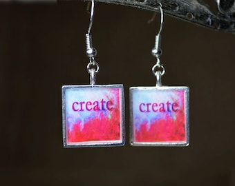 CREATE Dangle Earrings handmade Abstract Resin Earrings Inspirational Jewelry Resin Jewelry Word Art Resin Jewelry