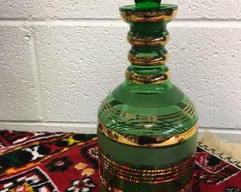 Vintage mod green glass w gold metallic stripe decanter *FREE SHIPPING*