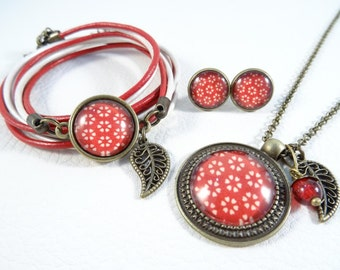 "Jewelry set ""White flower on red"""