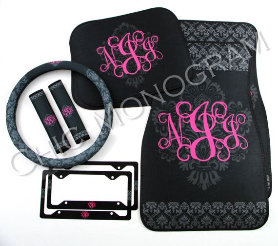 Black Damask Car Accessories MIX AND MATCH Steering Wheel Cover Seat Belt Covers Car Floor Mats License Plate Frames Personalized Monogram