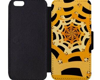 Halloween Spider Web Print Leather Flip Wallet Case Apple iPhone 5 5S SE 6 6S 7 7S 8 8S X Plus