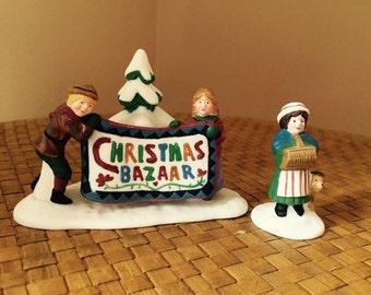 Department 56 Christmas Baazar New England Villlage Series Set of 2