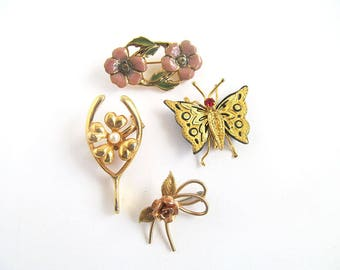 Scatter Pins, Horseshoe, Lucky Clover, Rosegold, Butterfly, Cherry Blossoms, Accent Pins, Scarf Pins, Vintage Pin Lot, Moonlilydesigns