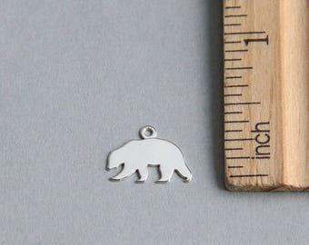 Mama Bear charm, Sterling Silver Mama Bear charm, Sterling Silver Bear Charm, Bear Tag, Tiny Bear Charm, 925 Sterling Silver, 12mm (1 piece)
